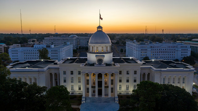 Dexter Avenue leads to the classic statehouse in downtown Montgomery Alabama