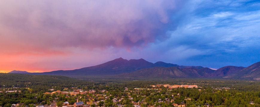 Mount Humphreys at sunset overlooks the area around Flagstaff Arizona
