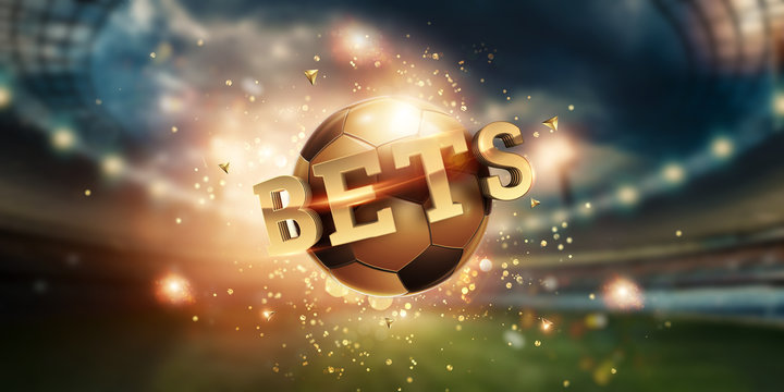 Gold Lettering Bets with golden ball and stadium background. Bets, sports betting, watch sports and bet.