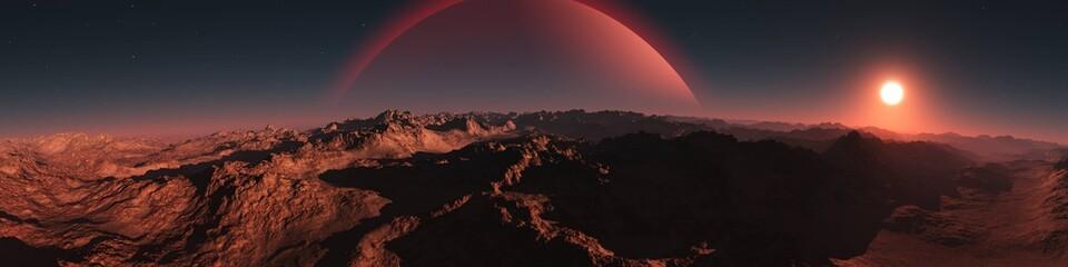 Panorama of an alien landscape. Sunset on Mars. Alien sunset. 3d rendering.