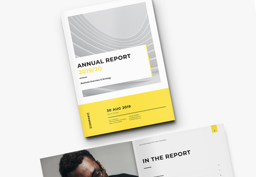 Business Report Layout with Yellow Accents