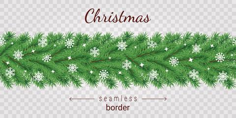 Christmas tree horizontal seamless border on transparent background.