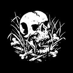 Skull Grim Reaper Skateboarding Line Graphic Illustration Vector Art T-shirt Design