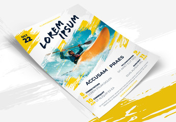 Yellow Flyer Layout with Brush Elements