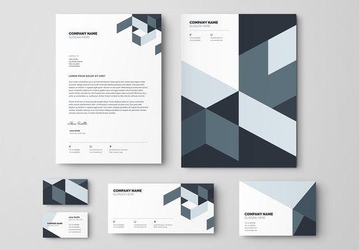 Blue and Gray Geometric Business Stationery Layout Set