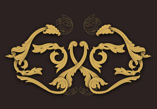 Western Carving Elements Icon Set