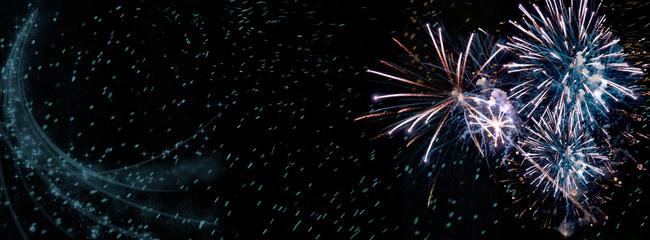 Fireworks, colorful sylvester-fireworks with sparks on black background