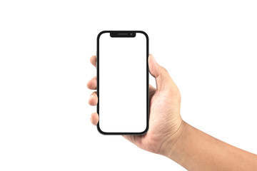 hand holding black smartphone with blank screen isolated on white