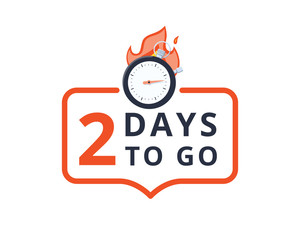 2 days to go last countdown icon. Two day go sale price offer promo deal timer, 2 day only. Marketing discount banner