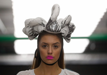 Model presents a creation by brand HISTORIA NATURALIS during a show at Belarus Fashion Week in Minsk