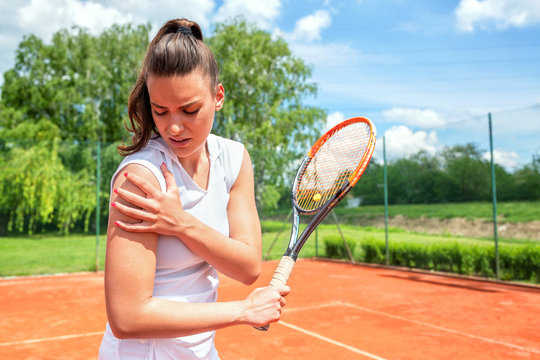 Pretty young girl injured during tennis practice