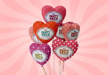 Heart Balloons Mockup