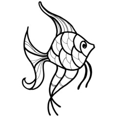 drawing in black and white, fish