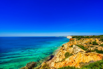 View on coast by Praia do Canavial near Lagos, Portugal,