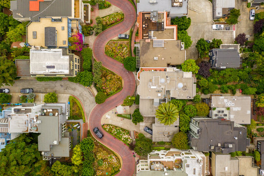 Aerial view of the famous Lombard Street, San Francisco, California, USA