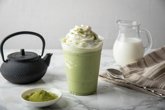 matcha frappuccino in plastic cup