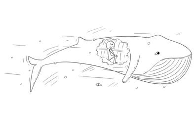 Vector cartoon stick figure drawing conceptual illustration of man sitting inside of the whale, biblical stroy of Jonas or Jonah and the whale.