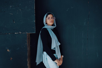 Portrait of woman wearing hijab and jeans