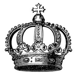 A Prussian crown vintage engraving.