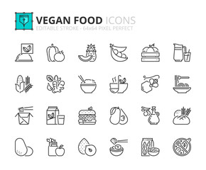 Simple set of outline icons about vegan food. Fruits, vegetables, beans, nuts, grains and soy.