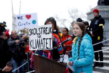 Climate change teen activist Greta Thunberg joins a climate strike march in Edmonton