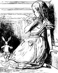Alice Watches the White Rabbit Run Away vintage illustration