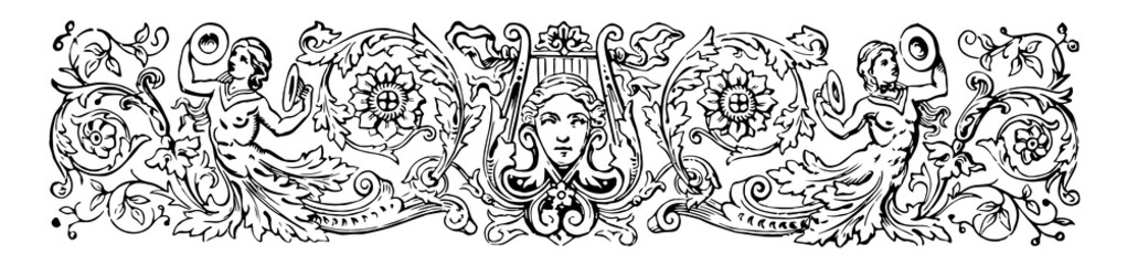 Angelic Banner have two angels and a face in the middle of the image vintage engraving.