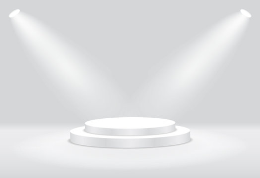 White 3d round podium with light and lamp. Winner stand with spotlights. Empty pedestal platform for award. Podium, stage pedestal or platform illuminated by light on isolated background. vector