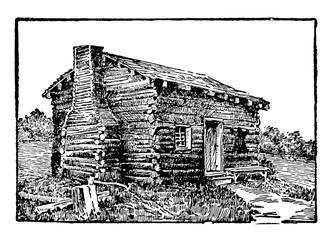 Lincoln Birthplace vintage illustration. Fotomurales