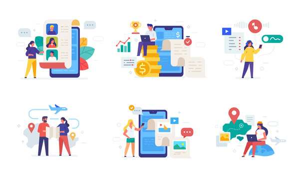 People use gadgets. set of icons, illustration. Smartphones tablets user interface social media.Flat illustration Icons infographics. Landing page site print poster.