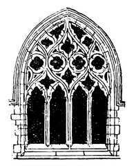 Small Gothic Window Tracery, during the fourteenth century,  vintage engraving.