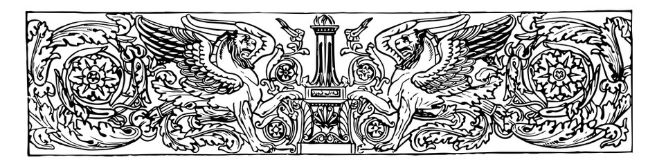 Banner have two lions with wings on their backs in the center of the picture vintage engraving.