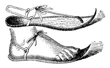 Egyptian Sandal, vintage engraving.