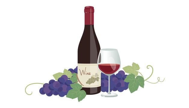 赤ワインとブドウ