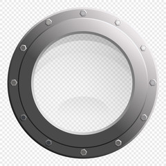 See through Porthole glass window from spaceship or submarine