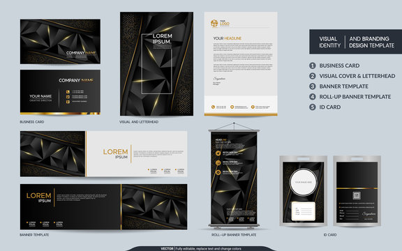 Modern black gold polygonal stationery mock up set and visual brand identity with abstract overlap layers background.