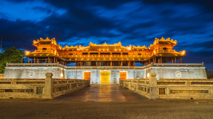 Imperial City Entrance Night Time. Citadel Historical building and vietnamese landmark in the old city of hue Vietnam Wall mural