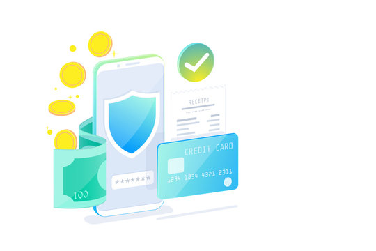 Online Mobile Banking and Internet banking isometric design concept , Cashless society, security transaction via credit card.