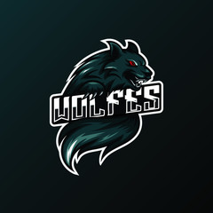 Angry wolf mascot for sport and esport or gamer team logo.