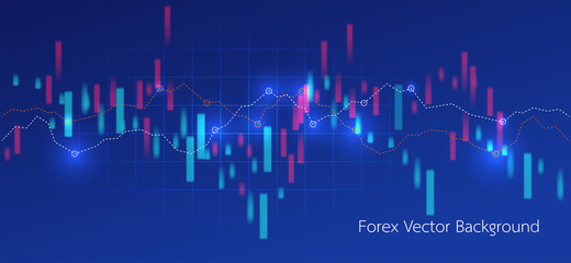 Stock market or forex trading.Candlestick chart in financial market.vector illustration on blue background.