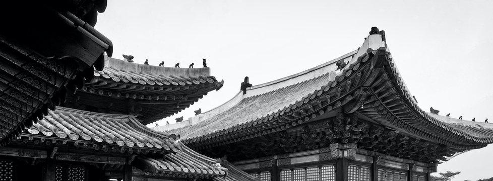 Korean Traditional Palace Changgyeonggung, Traditional Building, Monochrome photography