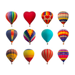 Foto auf AluDibond Ballon Hot air balloons isolated on white background