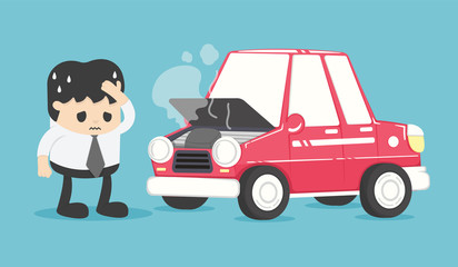Foto auf Leinwand Cartoon cars Stressed businessman near broken car