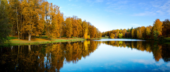 Sunny beautiful autumn landscape with pond in park and trees with yellow autumnal foliage