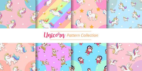 unicorn pattern vector set graphic design