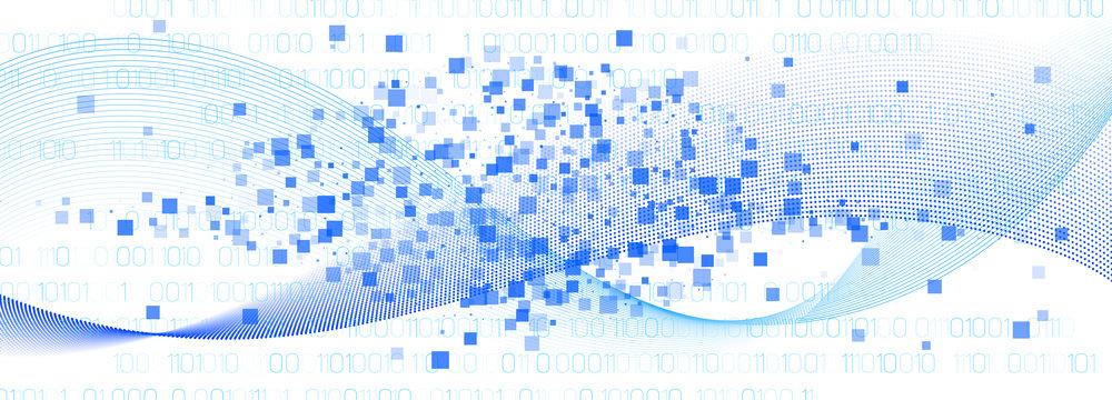 Matrix Vector. White Binary Background. Blue
