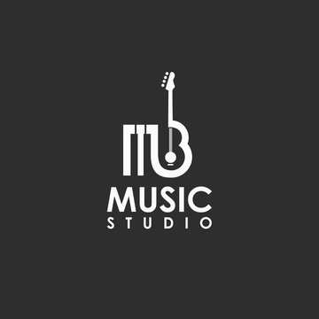 piano and guitar logo in the form of letter MB design vector