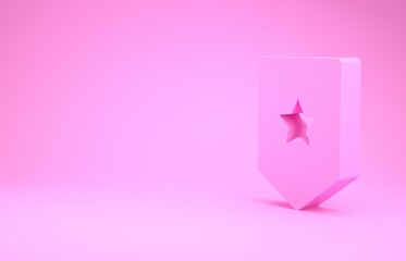 Pink Chevron icon isolated on pink background. Military badge sign. Minimalism concept. 3d illustration 3D render
