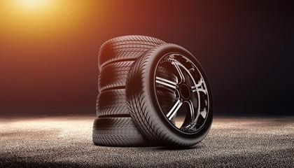 clean tire scene photo in the dark background