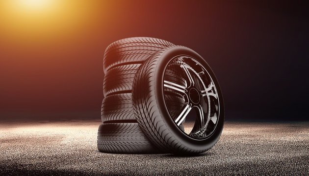clean tire scene photo in the dark background